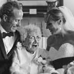 wedding couple with Grandmother in York Maine